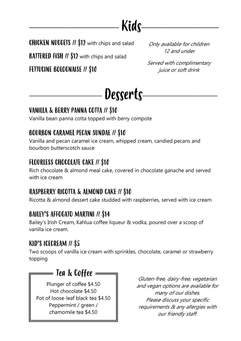 Plantations Restaurant Menu Page 3